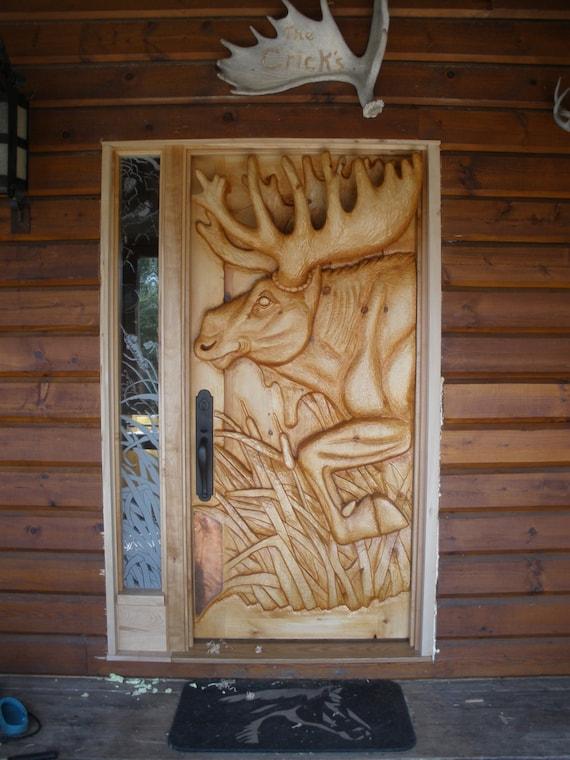 Items Similar To Entry Door Moose Door Hand Carved