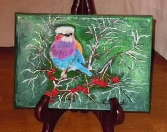 Exotic colorful bird mixed media.