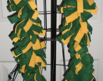 Green Gold Yellow Long Fleece Boa Scarf Green Bay Packers