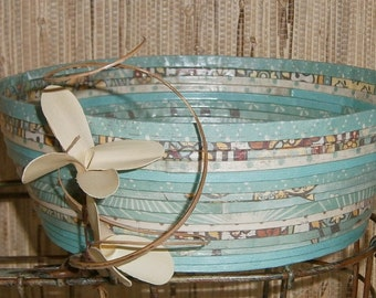 Recycled Coiled Paper Basket Bowl Lg, Shades of Aqua and Teal, Handmade