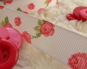 Bertie's Bows Rose Print 16mm Gosgrain Ribbon 5 metres