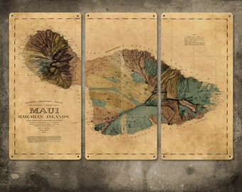 "Vintage Map Maui Hawaii METAL triptych 36x24"" FREE SHIPPING"