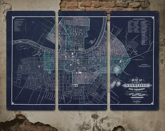 "Vintage Map of Nashville on METAL Triptych 54x36"" FREE SHIPPING"
