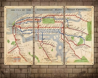 """Vintage Map of New York Subway Metal Triptych 36x24"""" FREE SHIPPING"""