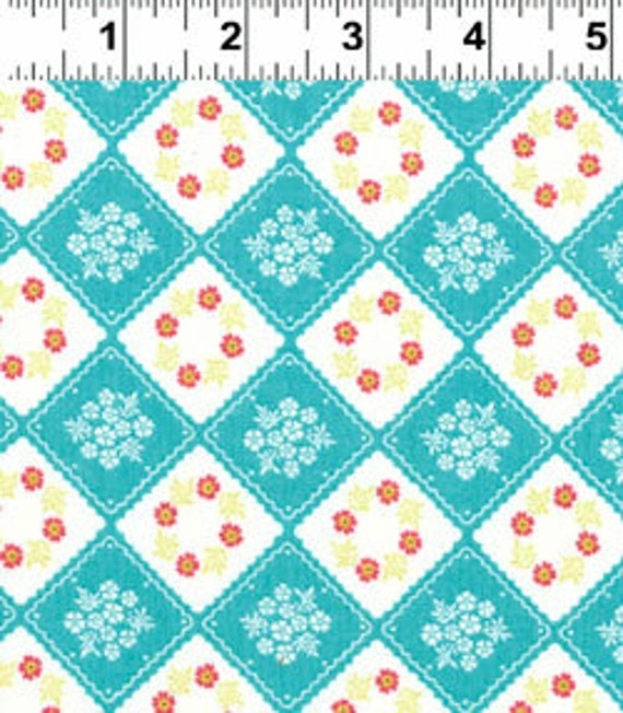 Diamond Patch in Aqua from Little Village by Kinkame for Clothworks