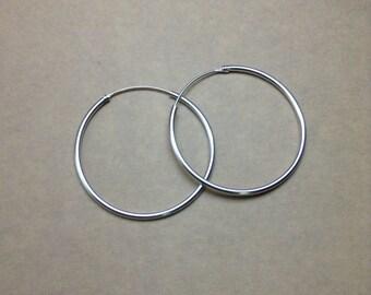 Sterling Silver Hoop Earrings 14 mm 1 pair