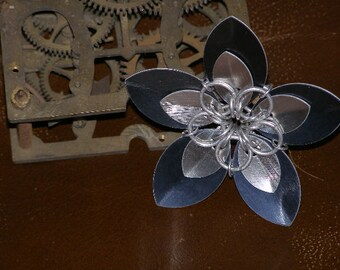 Black and Silver Double Petal Chainmail Flower Hair Clip and Pin