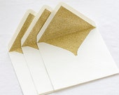 Gold glitter lined envelopes - Sparkly gold envelopes for weddings, birthdays, Christmas or Golden wedding anniversary - Many sizes / colors