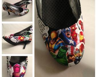 Custom Comic Book Decoupage Shoes (Heels)