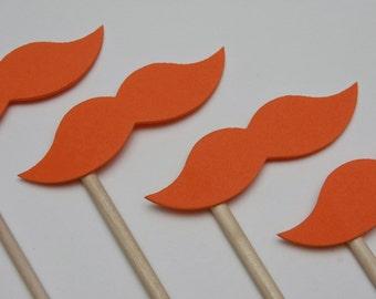 STACHE STICKS Orange (Set of 7 hand cut stache sticks)