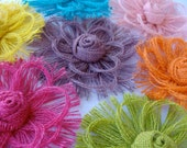 Rainbow Wedding Decorations Burlap Flower Set - Cake Topper  - Assorted Colors - Set of 7