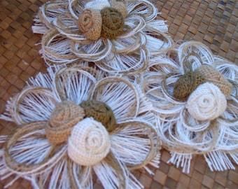 Burlap Home Decor Flower Set of 3 - Rustic - Vintage - Country - Wedding - Event Decor