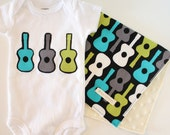 Baby Boy Onesie Bodysuit and Burp Cloth Set - Groovy Guitars - Gray, green, and aqua
