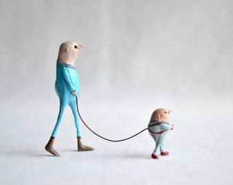 Boris takes Petrov for a walk. Minimal sculpture.