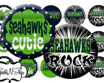 Instant Download Bottle Cap Image Sheet - Seahawks - 1 inch Circles