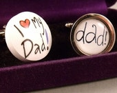 "Pair Velvet Boxed Novelty Cufflinks by Sonia Spencer ""I Love My Dad"" Gift"
