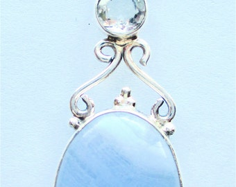 Blue Lace Agate & White Quartz 925 Sterling Silver