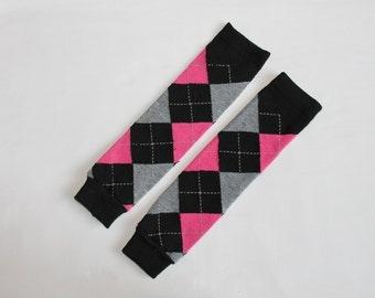 Baby Leggings Leg Warmers - Black, Pink & Gray Argyle