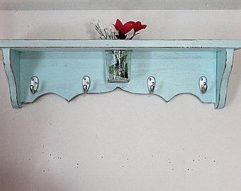 wood shelf 24 inch-floral vase, key hooks, coat hooks, homeorganizer, cottage decor, home decor, distressed, and painted baby blue