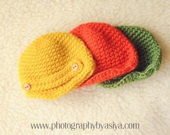 Crochet Wool Newsboy Hat,  CHOOSE COLOR