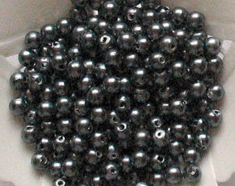 Beads Plastic Asphalt Metallic Gray 5mm Round 40 pcs pearl-shell Beads
