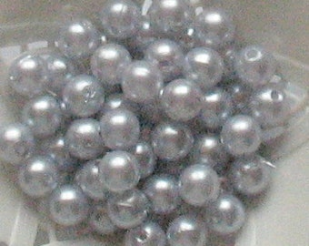 Beads Plastic Gray Silver 8mm Round 30 pcs pearl-shell