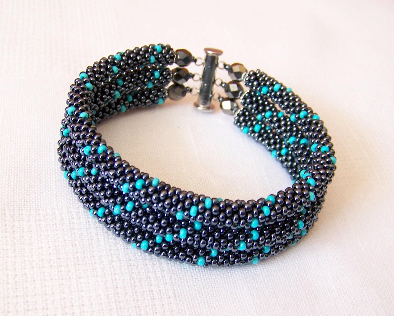 beadwork 3 strand bead crochet rope bracelet in hematite and. Black Bedroom Furniture Sets. Home Design Ideas
