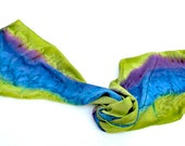 Hand Painted SILK SCARF, Purple, Blue, Green Yellow Olive Moss Chartreuse