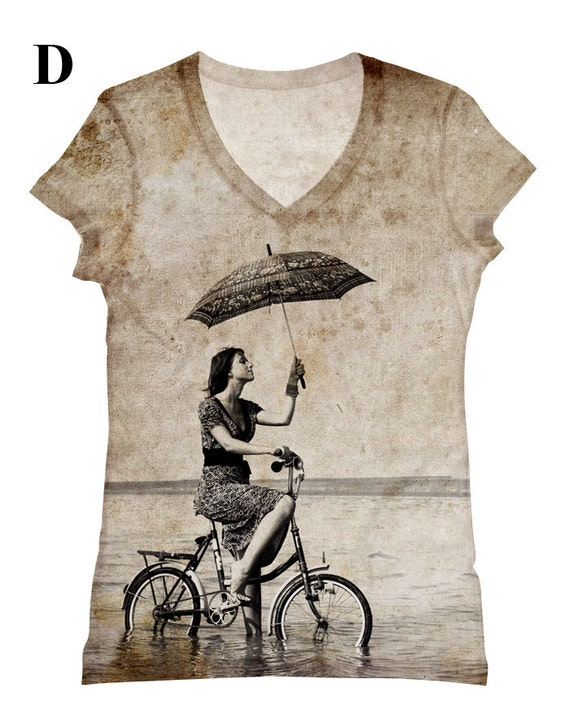 woman extra-large extended adult big and plus size riding bicycle woman with umbrella  beach print  top, t shirt and tank-99  xs - plus size