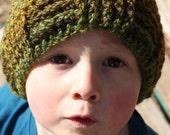 Green Crochet Beanie - Toddler Boy Beanie hat - Crochet kid hat - Earthy colors - Handmade