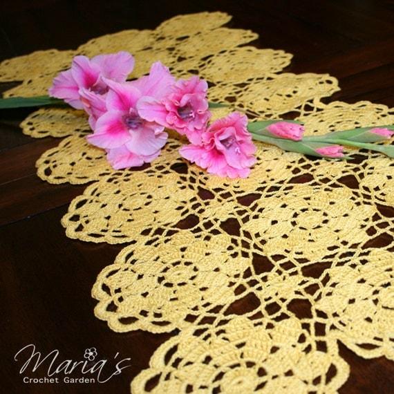 "Crochet Table Runner (31x13"") / Easter Decor / Yellow / Handmade Vintage Inspired Decor / Lacy Table Runner / Autumn Decor / Vintage Wedding"