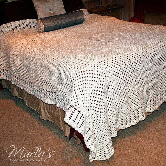 Crochet Queen Size Blanket : White King Queen Size Crochet Quilt / Beautiful Afghan / Warm Blanket ...