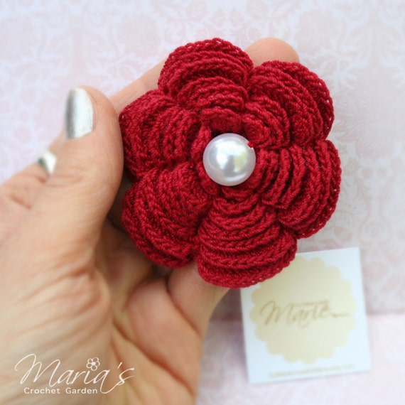 """Bridesmaids Gifts / Crochet 6 Petal Flower Brooch Pearl (width 3"""") / Valentine's Day Gift / Accessories for Women / Wedding Jewelry"""