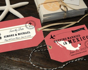 Luggage Tag Save the Dates with a map, customizable for any country and location with your own wedding colors