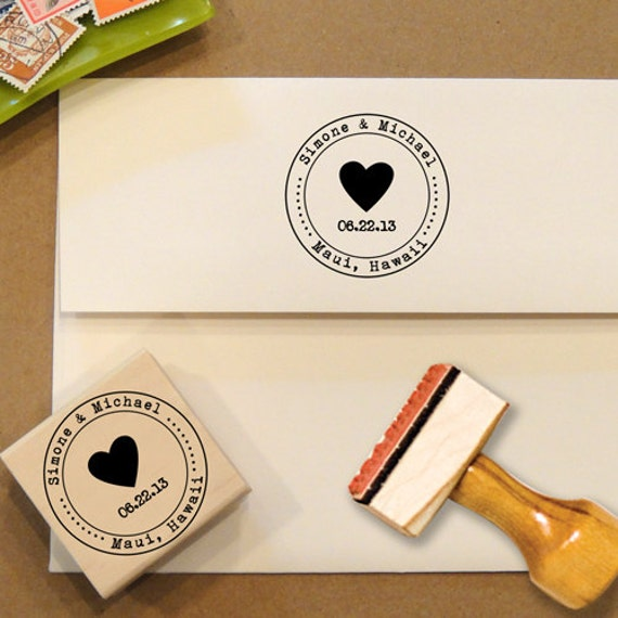 Heart Custom Stamp With Date For Save The Dates & By
