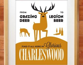 Winnipeg Neighbourhood Prints: Charleswood's Grazing Deer, Legion Beer