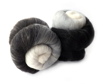 Spinning batt - Gradient - black - white - grey - 100g - 3.50z - Merino - SILENT MOVIE