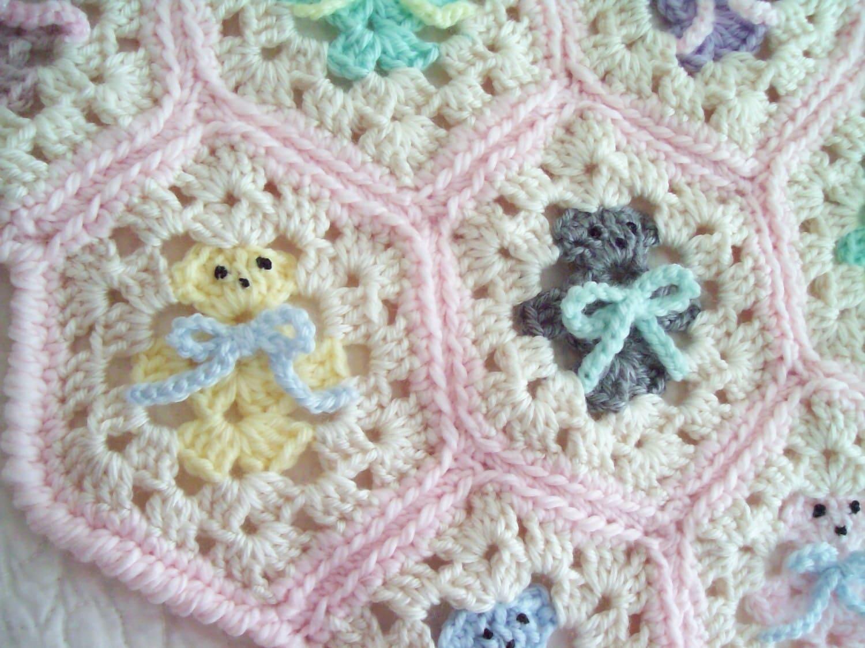 Crochet Baby Blanket Hexagon Teddy Bear Baby Blanket Afghan