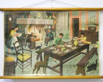 Vintage Belgian School Chart (Domestic Scene)