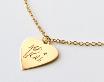 Me (Plus) You in golden heart necklace, Gold Necklace, delicate necklace,