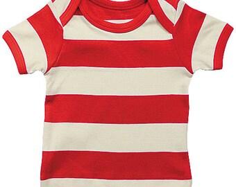 Organic Cotton Baby Lap Shoulder T-Shirt Red Stripe