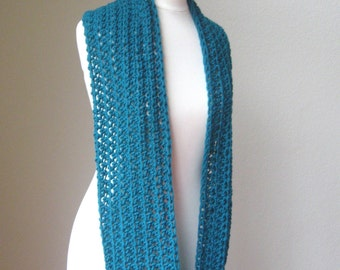 TEAL INFINITY SCARF Fashion, Winter, Gift for Him, Gift for Her,  Handmade, Crochet, Ready to Ship