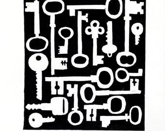 Keys lino print