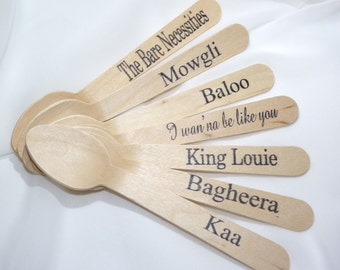 JuNgLe Book  Wood Spoons 30 HAND STAMPED Words Custom Favors , Ice Cream Spoons, Eco Friendly