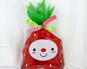 Strawberry Treat 30 Favor Food Bags with Solid Red Twist Ties Strawberry / Craft Supply for Hand made Favors -Bakery/ Cookies/ CaNdY Bags -