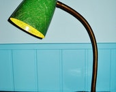Atomic GOOSENECK CONE Desk LAMP Mid Century Modern fiberglass cone shade solid brass base Mad Men Eames