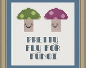 Pretty fly for fungi: funny mushroom cross-stitch pattern