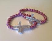 Pink & Silver Cross Bracelet