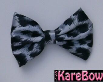 Big Silky Black and Grey Cheetah Bow