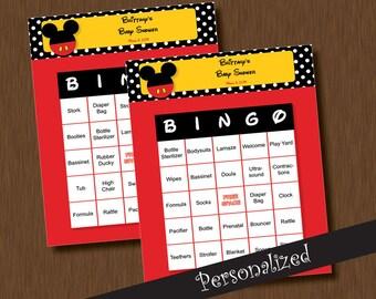 Instant Download - Mickey Mouse BINGO - 100 Baby Shower BINGO Games - Unique Printable Personalized Cards DIY